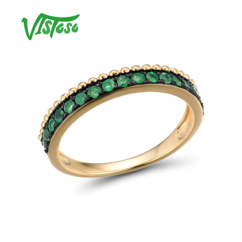 VISTOSO Gold Rings For Women Genuine 14K 585 Yellow Gold Ring Sparkling Luminous Emerald Luxury Engagement Rings Fine Jewelry