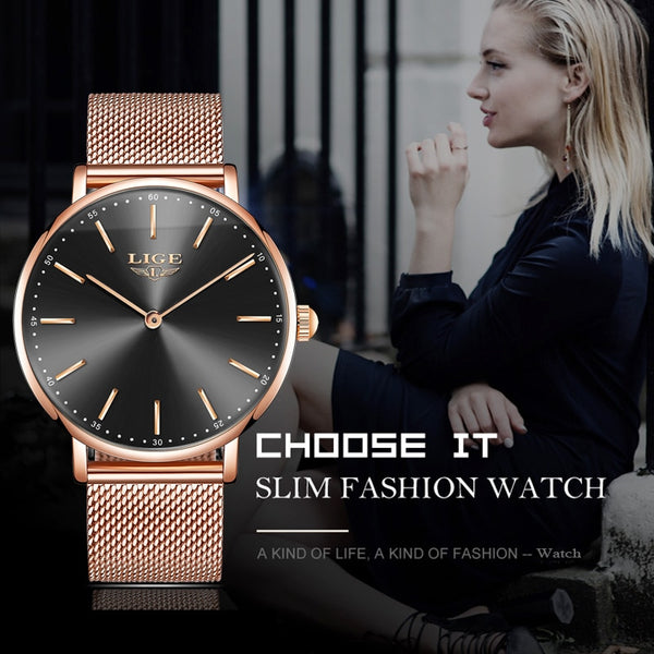 2020 LIGE New Rose Gold Women Watch Business Quartz Watch Ladies Top Brand Luxury Female Wrist Watch Girl Clock Relogio Feminin
