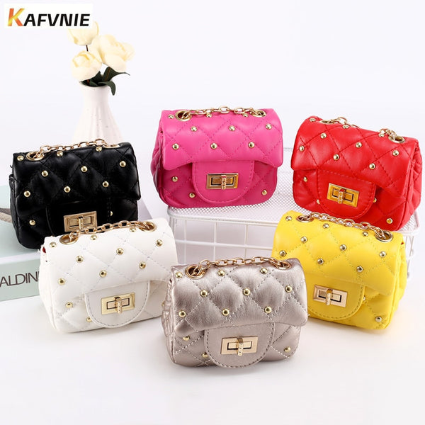 KAFVNIE Mini Children Handbag PU Rivet Children's Shoulder Bag Hot Pink Candy Change bag  Kid Evening Party Birthday Purse Bags