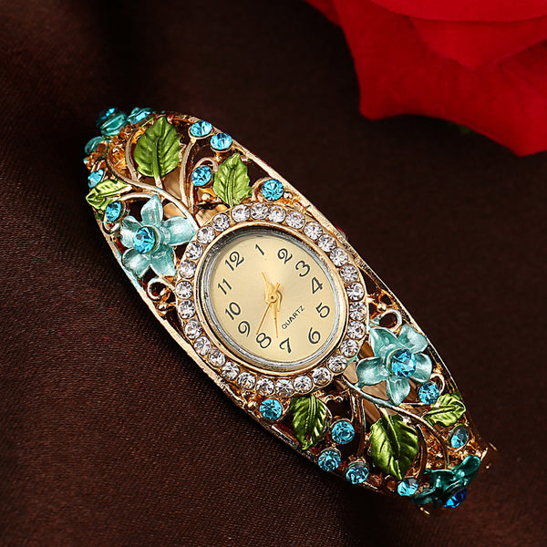 Women Watches Modern Fashion Rose Gold Bangle Crystal Flower Bracelet Quartz Wristwatch Rhinestone Stainless Steel Clock Gift #c