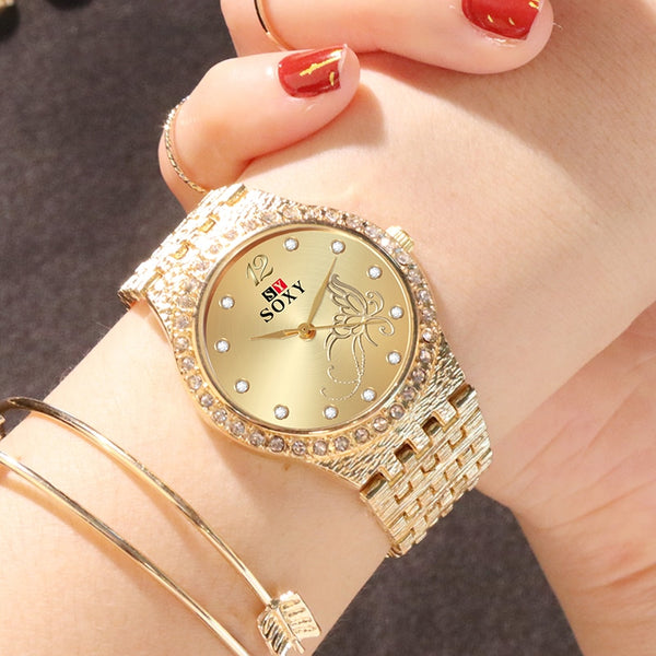 Women Watches Women Fashion Watch Luxury Diamond Women's Gold Wrist Watch Ladies Watch Women Gifts Stainless Steel Clock