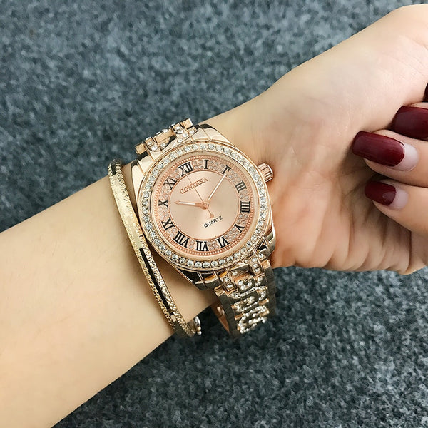 CONTENA Luxury Bracelet Watch Women Watches Rhinestone Fashion Rose Gold Women's Watches Clock Reloj Mujer Relogio Feminino