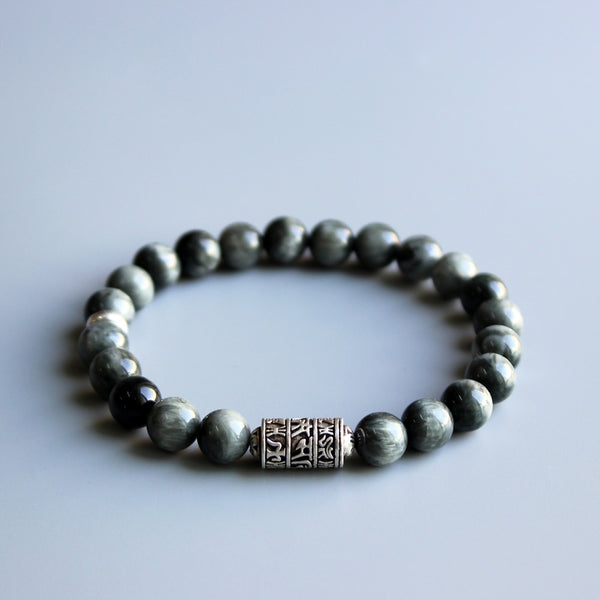 Eastisan Grey Eagle Eye Stone Beads With Tibetan Buddhism Mantra Totem Charm Bracelet For Man Woman Om Mani Padme Hum Jewelry
