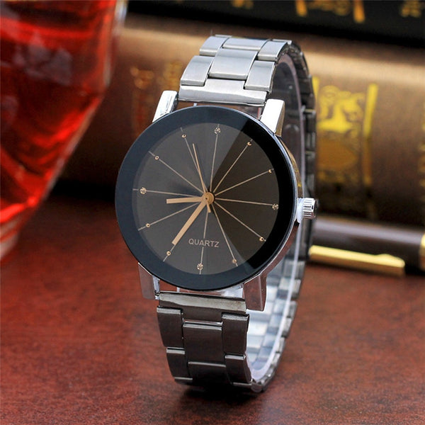 Luxury Fashion Women Men Stainless Steel Band Analog Gear Quartz Movement Wrist Watch  Wrist Watch  Erings for Women D50