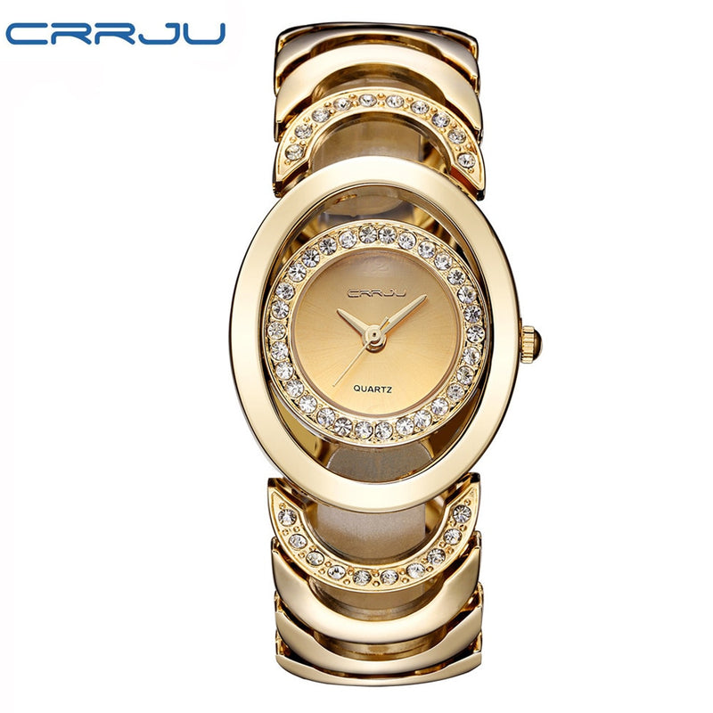 Gold Watch Women Luxury Brand bracelet Ladies Quartz-Watch Gifts For Girl Full Stainless Steel Rhinestone wristwatches whatch
