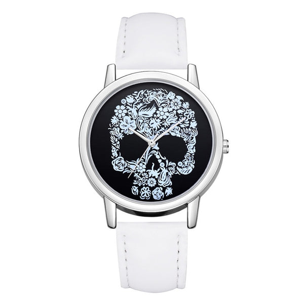 Women Watches New Fashion Skull Pattern Design Watch Leather Band Quartz Round Wristwatch Luxury Casual Clock Neutral Watch #c