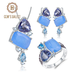 GEM'S BALLET Natural Aqua-blue Calcedony Candy Irregular Jewelry 925 Sterling Silver Ring Earrings Pendant Jewelry Set For Women