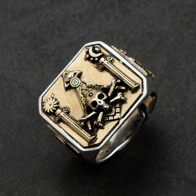Skull MasonicRing  925 Silver Ring For Men  Omniscient eye and freemason Totem Jewelry mygrillz