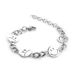 Stainless Steel Silver Color Smile Funny Bracelet Happy Expression Cute Chain Link Bracelets Bangle For Women Men