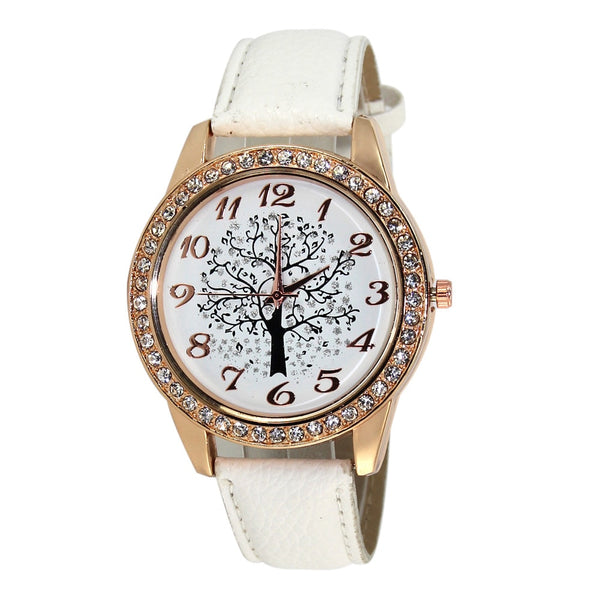 Fashion Women Watch Casual Big Tree Pattern Rhinestone Ladies Watch Gift Clock Leather Belt Quartz Wrist Watch Montre Femme #W