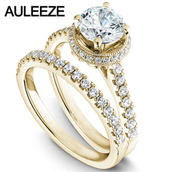 Modern Halo Round 1 Carat Moissanites Bride Wedding Ring Set Solid 14K 585 Yellow Gold Engagement Rings For Women Fine Jewelry