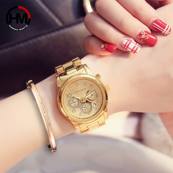 Hannah Martin Top Brand Luxury Women's Watches Fashion Gold Ladies Watch Women Watches Clock relogio feminino reloj mujer
