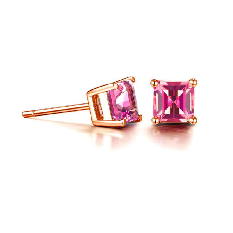 Jade Angel 18K Rose Gold Princess Cut Pink Topaz Ruby Stud Earrings Women Fine Jewelry