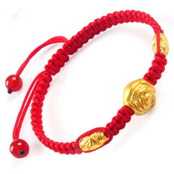 New 999 Pure 24K Yellow Gold 10mm 3D Rose Flower & Fine Bead Woman's Lucky Adjustable Bracelet
