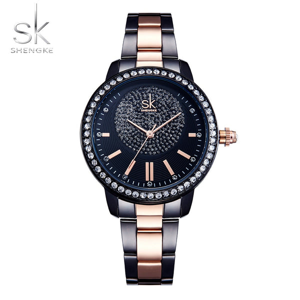 SHENGKE Rose Gold Watch Women Crystal Decoration Luxury Quartz Watch Female Wrist Watch Girl Clock Ladies Relogio Feminino