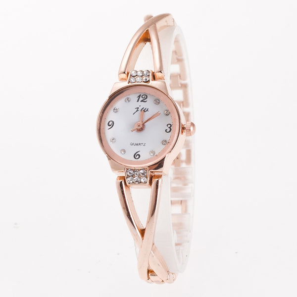 Fashion Women Bracelet Watch Minimalism Rhinestone Golden Sliver Stainless Steel Wrist Watch For Ladies Gift Relogio Feminino #c