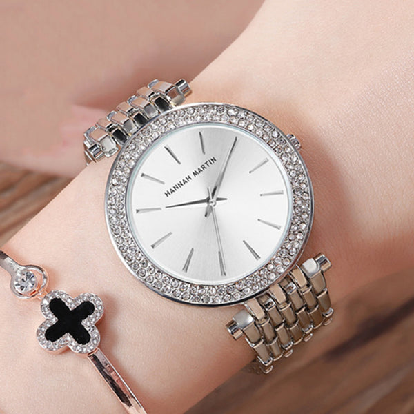 Top Luxury Brand Ladies Wrist Watches Silver Steel Women Bracelet Watch Fashion Rhinestone Diamond Female Clock Relogio Feminino