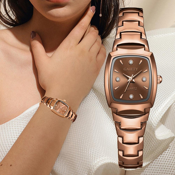 Women Bracelet Watch Rose Gold Fashion Luxury Stainless Steel Wrist Watch Rhinestone Ellipse Creative Ladies Dress Quartz Watch