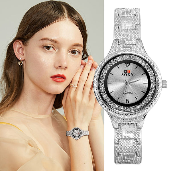 SOXY Top Luxury Brand Women Watch Fashion Casual Quartz Wristwatch Stainless Steel Silver Bracelet Ladies Watches zegarek damski