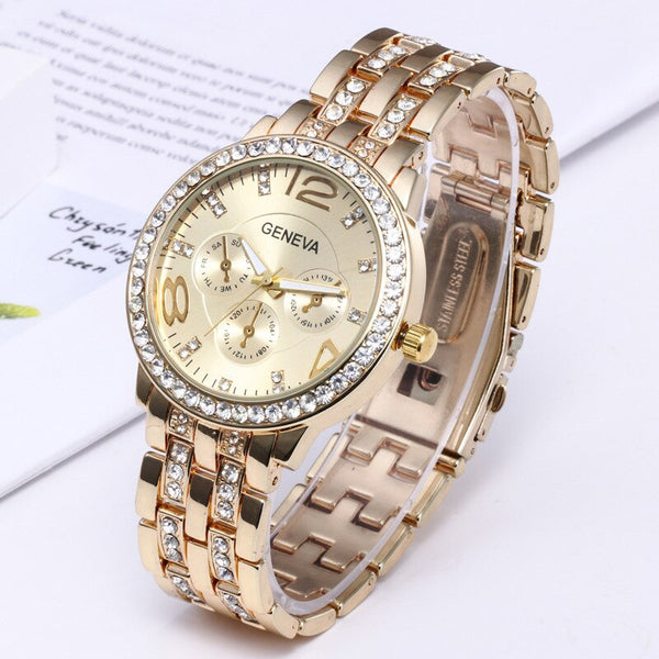 geneva watch men Rhinestone Brand Gold Crystal Casual Quartz Women Stainless Steel Dress Watches Relogio Feminino Clock Hot