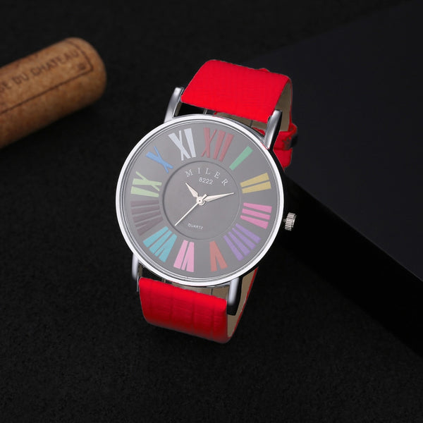 MILER Multicolor Roman Numerals Watch Women Watches Leather Fashion Ladies Watch Women's Watches Clock reloj mujer