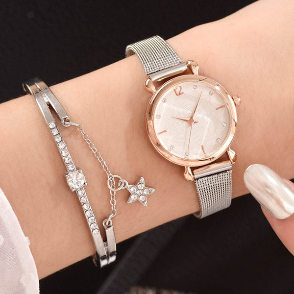 Watches With Bracelet Luxury Watch Set Women Fashion Silver Metal Band Quartz Wrist Watch Ladies Wristwatch Simple Wriswatch