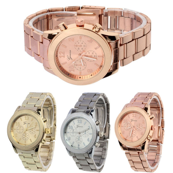 2019 Geneva Ladies Watch High Quality Stainless Steel Quartz Wrist Watch Geneva Watch Womens Rose Gold Watches Reloj Mujer Clock