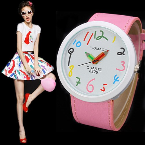 2020 Women Watches Womage Creative Design Multicolor Pencil Needle Cartoon Watches Big Number Watches Girls Relogio Masculino
