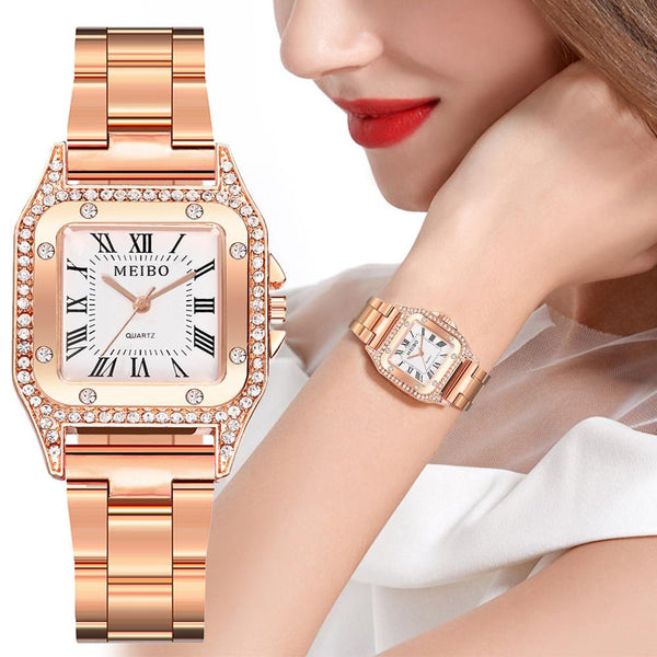 Watches Luxury Ladies Minimalist Square Dial Stainless Steel Band Quartz Wrist Watch Diamond relogio feminino Women Watches XB40