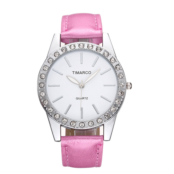 2020 Luxury Top Brand Wrist Watch Dress Pink Leather Band Analog Quartz Fashion Diamond Girl Lady Women Watches Clock Reloj Gift