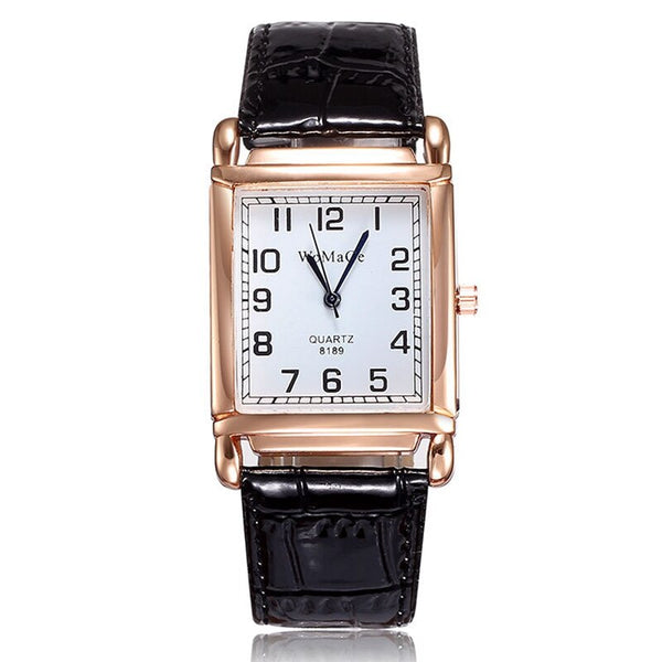 2020 New Fashion Women Watch Red Leather Strap Casual Watch Wrist Square Dial Rose Gold Case Lady Watches Wristwatch Clock Gift