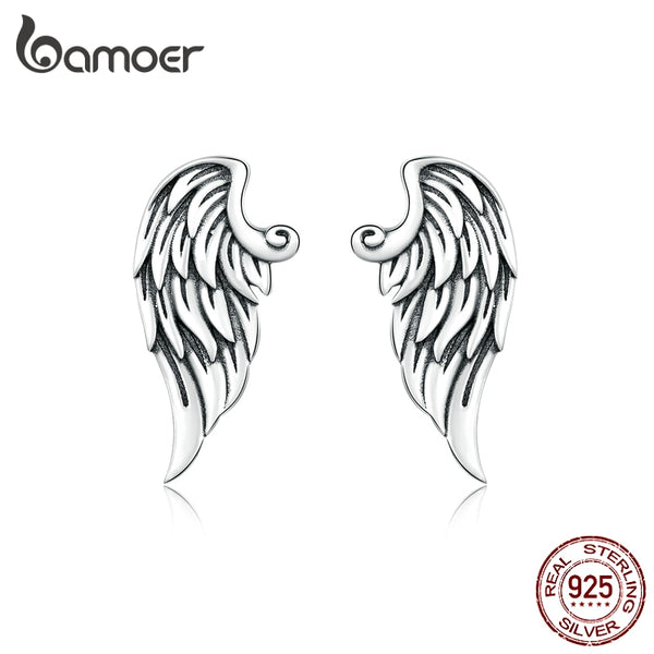 bamoer Retro Wings Stud Earrings for Women Genuine 925 Sterling Silver Vintage Design Ear Pin Studs Fine DIY Jewelry BSE343