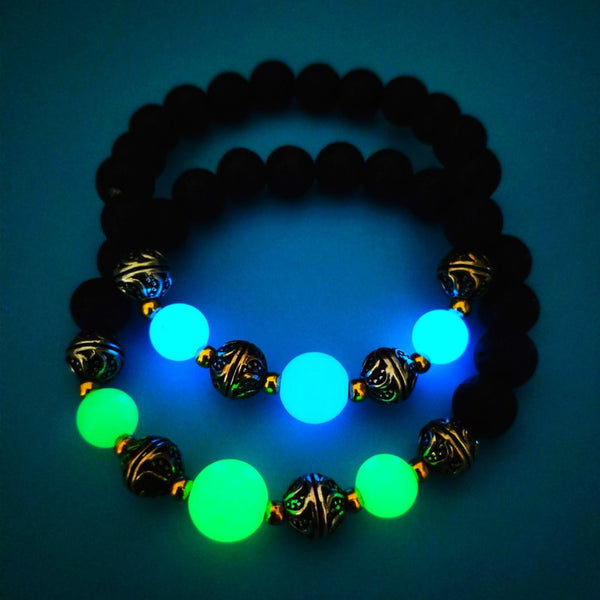 2020 New Natural Volcanic Stone Bracelet for Men Women Luminous Fluorescence Fashion Bracelet Handmade Delicacy Accesories