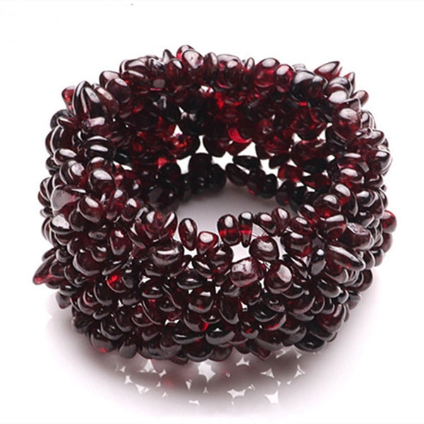 New Fashion Natural Garnet Bracelet Tourmaline Gravel Single Circle Bracelet Lucky Color Crystal Jewelry Gift For Women