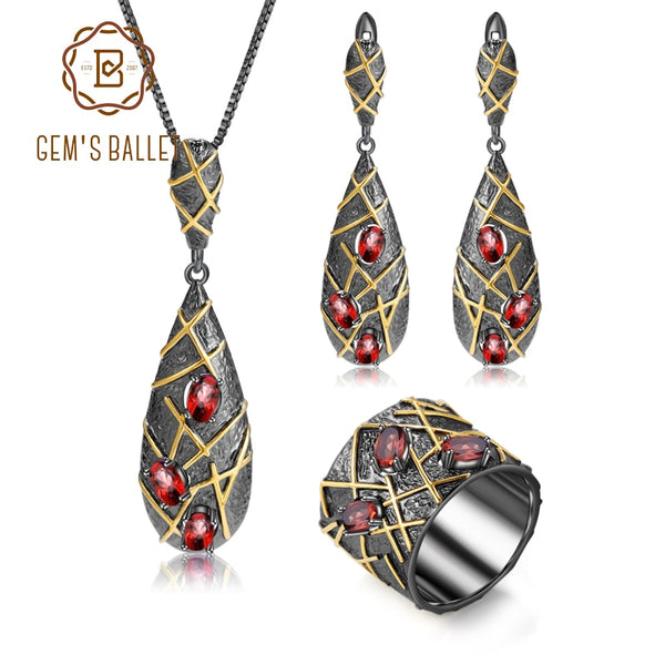 GEM'S BALLET Natural Red Garnet Gemstones Ring Earrings Pendant Set 925 Sterling Silver Window Decoration  Jewelry Set For Women