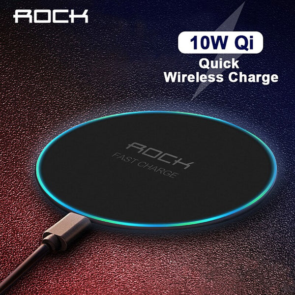 LED Breathing Light 10W Wireless Charger , ROCK Qi Fast Wireless Charging Pad For iPhone X XS 8 Samsung Xiaomi