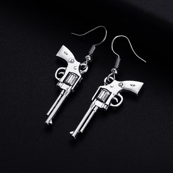 Trendy Vintage Revolver Gun Shape Dangle Earrings for Women Girl Retro Drop Earrings Cute Small Object Earring Jewelry Bijoux