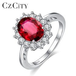 CZCITY Princess Diana William Kate Ruby Emerald Sapphire Wedding Engagement Rings for Women 925 Sterling Silver Fine Jewelry