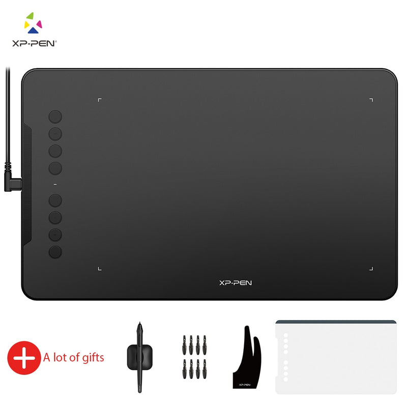 XP-Pen Deco 01 V2 10'' Drawing Tablet Graphics Digital Tablet Tilt Android Windows MAC 8 shortcut keys (8192 levels pressure)
