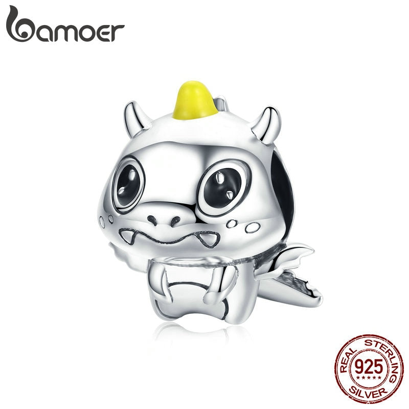 BAMOER 100% 925 Sterling Silver Cute Licorne Dragon Dinosaur Beads fit Women Bracelets & Necklaces Silver Jewelry Making BSC060