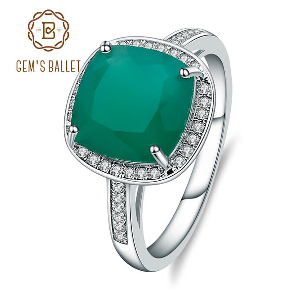 Gem's Ballet Natural Green Agate Rings Genuine 925 Sterling Silver Cocktail Rings Fine Jewelry Woman Wedding Engagement Ring