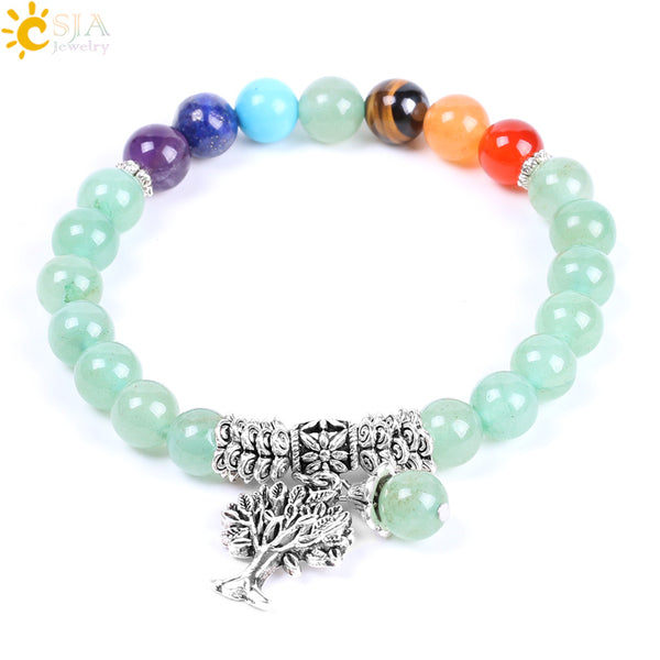 CSJA Natural Green Aventurine Rainbow 7 Chakra Beads Yoga Bracelets Hot Sell Healing Bangles Life Tree Women & Men Jewelry F127