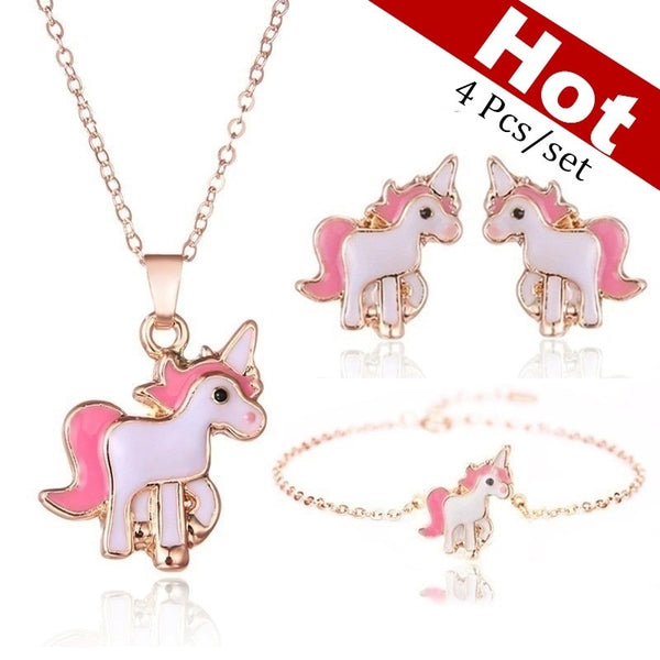 4pcs/set Necklace Earrings Cartoon Unicorn Necklace Earring Jewelry Pink Girls Gift Jewelry Jewelry  Earring and Necklace Set