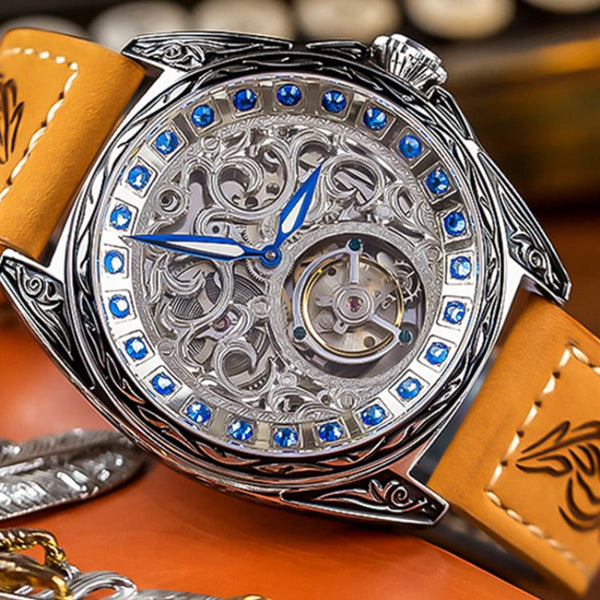 Fashion Big Dial Full Automatic Tourbillon Mechanical Watch Men's Crystal Diamond Antique Men Skeleton Watches Luminous Pointer