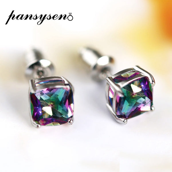 PANSYSEN Vintage 7MM Rainbow Mystic Topaz Earrings For Women 100% 925 Silver Jewelry Earring Wholesale Party Wedding Gift