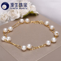 [YS] 18K Gold 5-5.5mm White Pearl Necklace Freshwater Pearl Necklace Jewelry