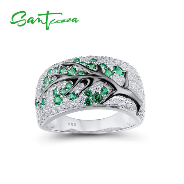 SANTUZZA Silver Ring for Women Green-Spinels Gem Stone Cubic Zirconia Ladies Ring 925 Sterling Silver party Fashion Jewelry