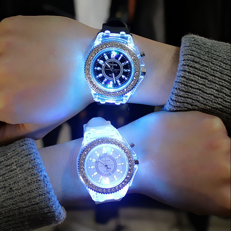 LED Light Flash Luminous Watches Women Men Boys Girls Silicone Wrist Watch Fashion Rhinestone Clock Kids Children Relogio Saati
