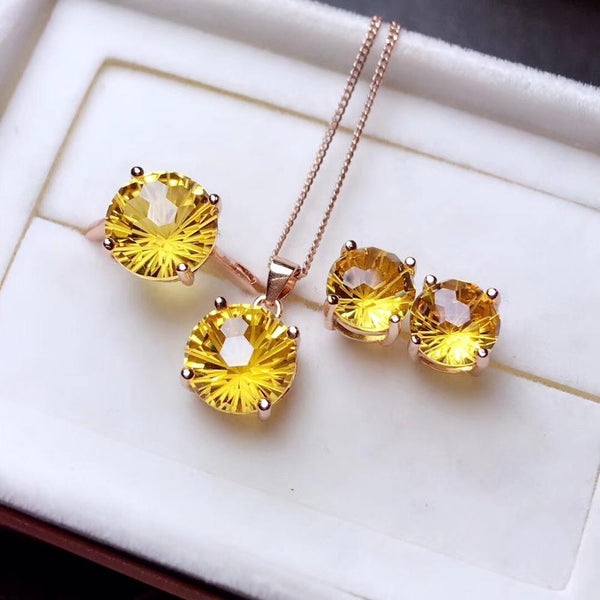 Lucky yellow gemstone, natural citrine suit, new design style, generous and dignified, 925 silver