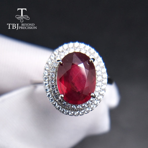 TBJ,Popular elegant Ring with natural Ruby in 925 sterling silver gemstone jewelr for women & girls as a wedding valentines gift